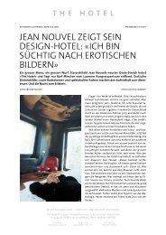 Schweizer Illustrierte Jean Nouvels zeigt sein - The Hotel