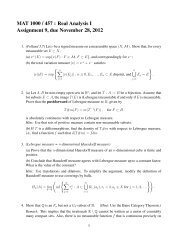 MAT 1000 / 457 : Real Analysis I Assignment 9, due November 28 ...