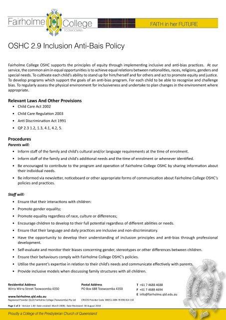 oshc homework policy