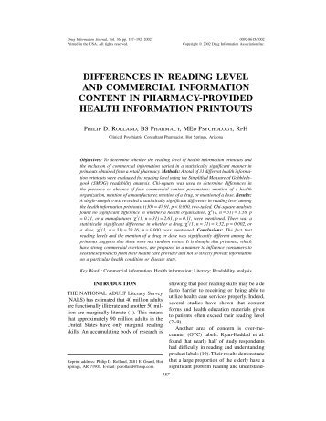 differences in reading level and commercial information content in ...