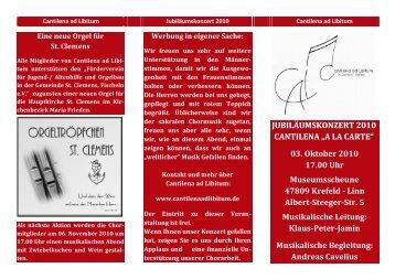 Programm-Flyer - Cantilena ad Libitum