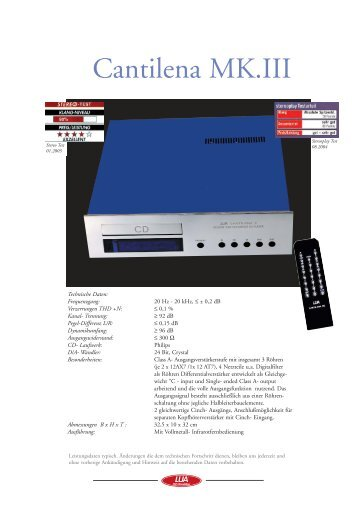 Prospekt Röhre Cantilena MK.3.qxd - Lua HiFi