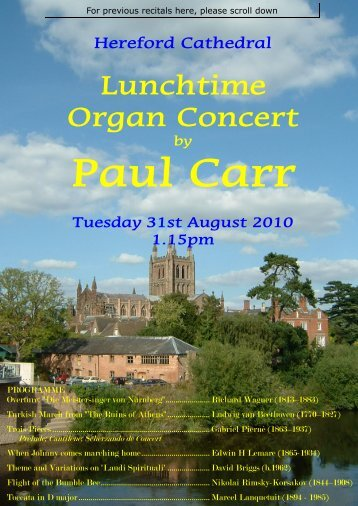 Hereford Cathedral programmes for pdf - Paul Carr