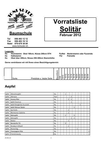 Vorratsliste Solitär Februar 2012 - Toni Suter