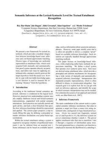 Semantic Inference at the Lexical-Syntactic Level for Textual ...