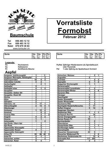 Vorratsliste Formobst - Toni Suter