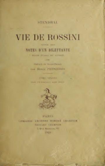 Vie de Rossini, suivie des Notes d'un dilletante