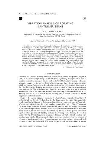 Vibration Analysis of Rotating Cantilever Beams