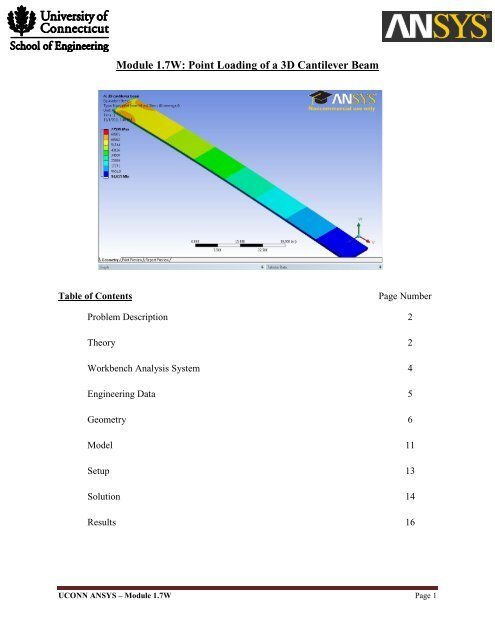 Module 1 7W: Point Loading of a 3D Cantilever Beam