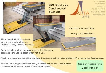 PR9 Short rise Cantilevered Step Lift - Alta Lifts