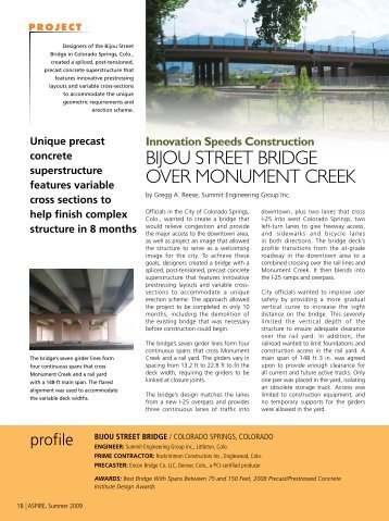 Bijou Street Bridge - Aspire - The Concrete Bridge Magazine