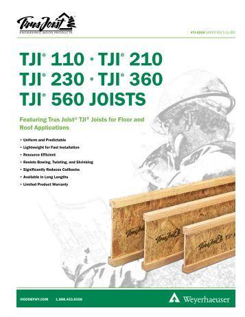 Ilevel trus joist commercial tji joist installation guide for Tji 210