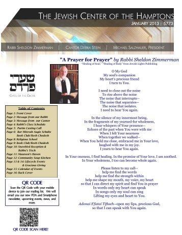 by Rabbi Sheldon Zimmerman - Jewish Center of the Hamptons