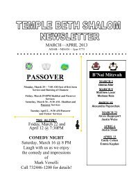 Monthly Newsletter - Temple Beth Shalom