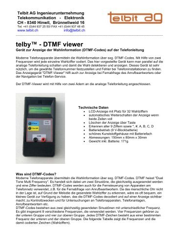 telby™ - DTMF viewer - Telbit AG