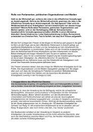 Rolle von Parlamenten, politischen Organisationen ... - Text und Auftritt