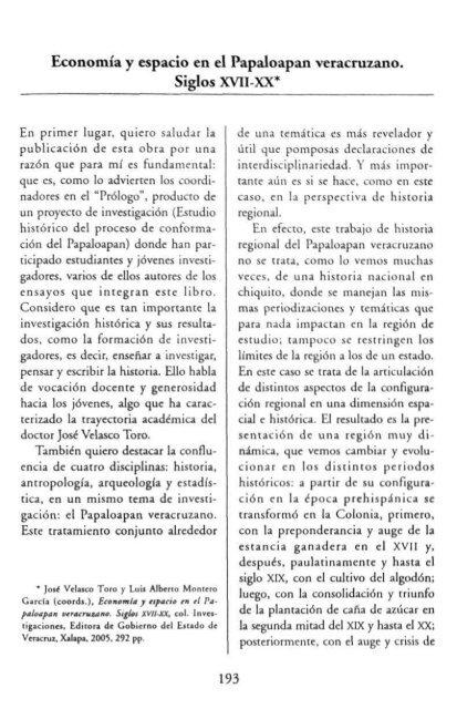 Economía y espacio en el Papaloapan veracruzano. Siglos XVII-XX*