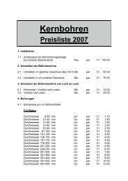 Kernbohren Preisliste 2007 - Thoenen Baut AG