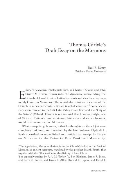 How To Write Essay Proposal Thomas Carlyles Draft Essay On The Mormons  Literature And Belief  Argumentative Essay Topics For High School also E Business Essay Thomas Carlyles Draft Essay On The Mormons  Literature And Belief  Purpose Of Thesis Statement In An Essay