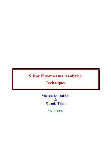X-Ray Fluorescence Analytical Techniques - CNSTN : Centre ...