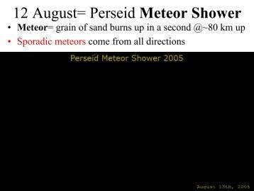 12 August= Perseid Meteor Shower