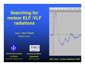 Searching for ELF/VLF meteor - International Meteor Organization