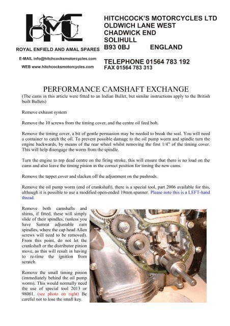 performance camshaft exchange - Hitchcocks Motorcycles