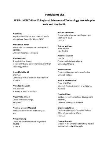 Participants list - International Council for Science