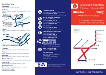 revised timetable for Huddersfield - Staylbridge ... - Northern Rail