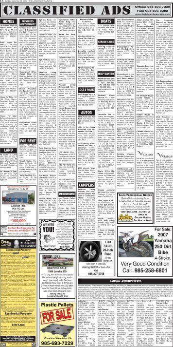 Classifieds - The Lafourche Gazette