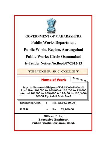 Public Works Department Public Works Region ... - e-Tendering