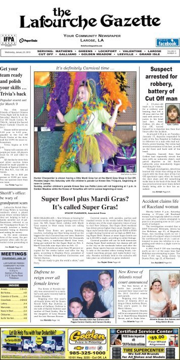 Wednesday, January 23,2013 - The Lafourche Gazette