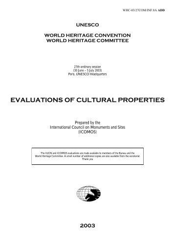 evaluations of cultural properties - UNESCO: World Heritage