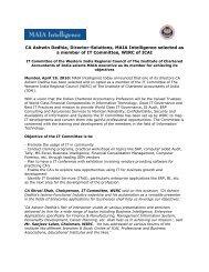 CA Ashwin Dedhia, Director-Solutions, MAIA Intelligence selected ...