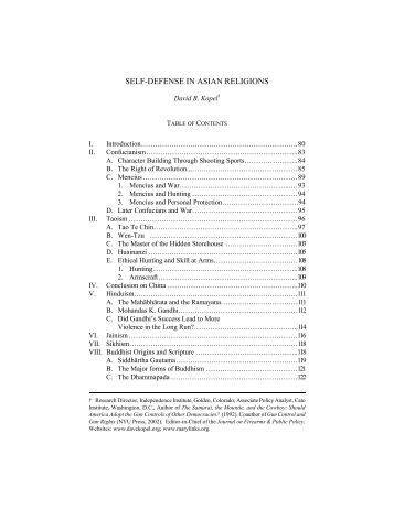 SELF-DEFENSE IN ASIAN RELIGIONS - Dave Kopel