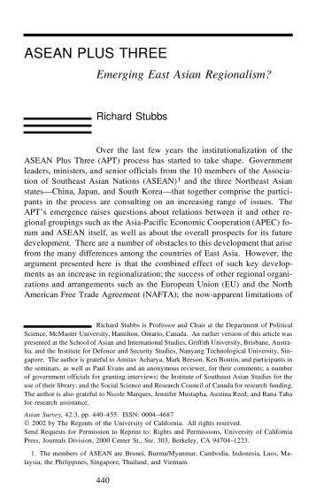 Asean Plus Three: Emerging East Asian Regionalism?