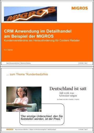 CRM Anwendung im Detailhandel am Beispiel der ... - Touchpoints