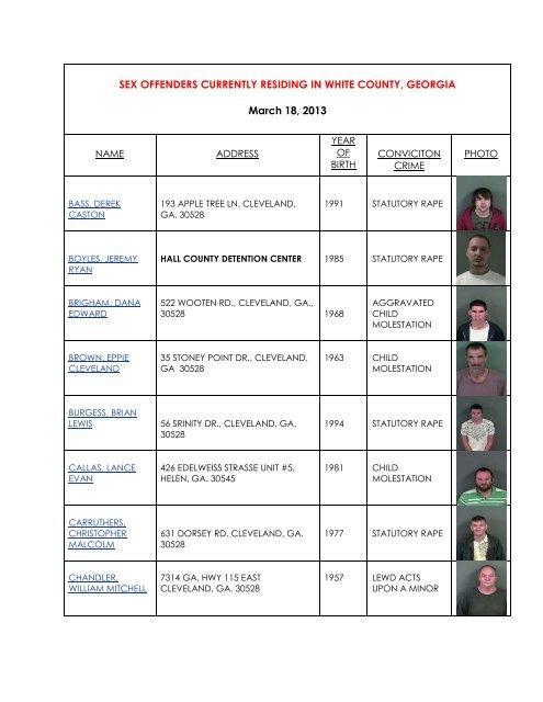 List of sex offenders in ga
