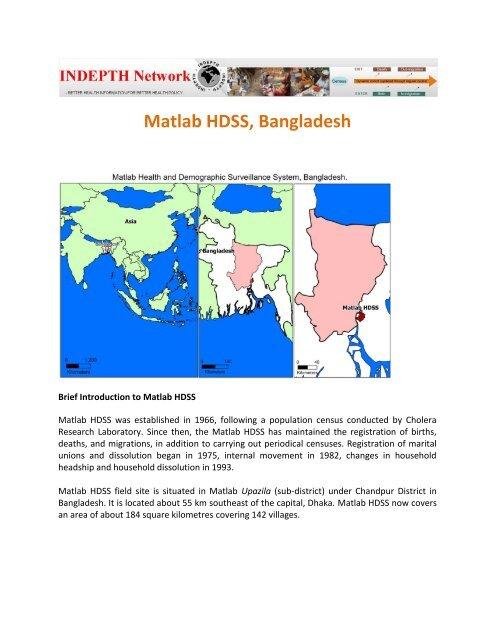 Matlab HDSS, Bangladesh - INDEPTH Network