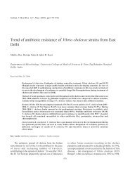 Trend of antibiotic resistance of Vibrio cholerae strains from East Delhi