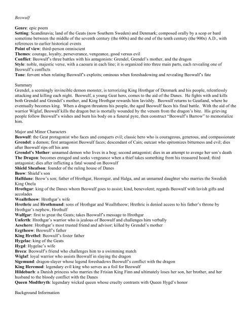 Beowulf Helper PDF