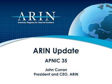 ARIN Update - Apricot 2013