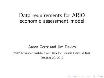 Data requirements for ARIO economic assessment model