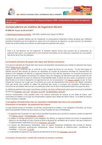 Jurisprudence en matière de logement décent (p 2) - Anil