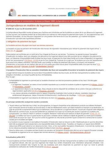Jurisprudence en matière de logement décent - Anil