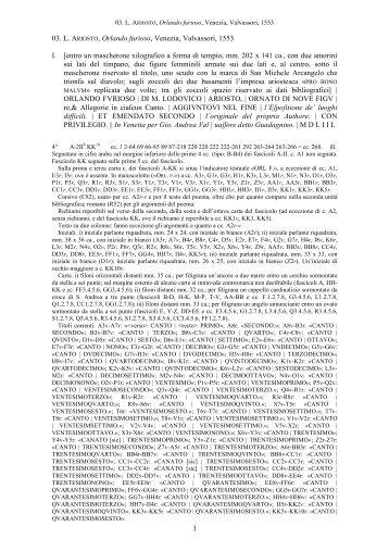 03. L. ARIOSTO, Orlando furioso, Venezia, Valvassori, 1553 I. [entro ...
