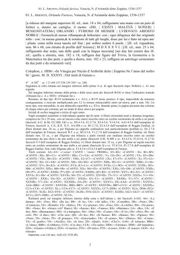 01. L. ARIOSTO, Orlando Furioso, Venezia, N. d'Aristotile detto ...