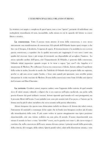 I TEMI PRINCIPALI DELL'ORLANDO FURIOSO ... - Mauro Mangano