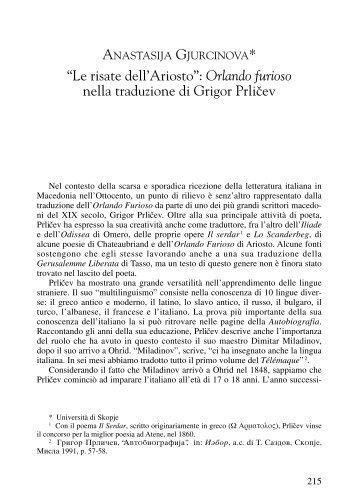 """""""Le risate dell'Ariosto"""": Orlando furioso nella traduzione di Grigor ..."""