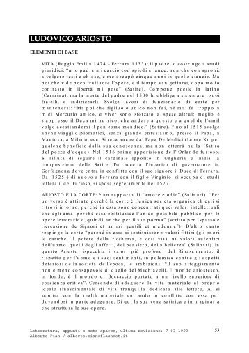 LUDOVICO ARIOSTO - Virgilio